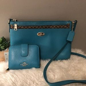 Slim Coach Crossbody Purse with Matching Wallet